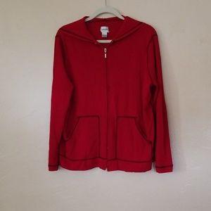 CHICO'S red long sleeve zip up hoodie